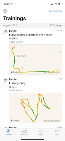 HealthFit - Apple Watch - Aktivitäten
