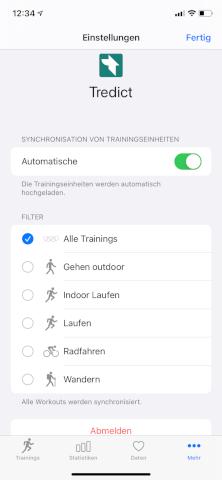 HealthFit - Apple Watch - Automatisch synchronisieren