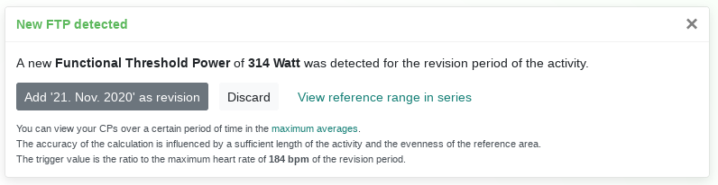 A new FTP was detected. With a maximum heart rate of 184bpm as reference.