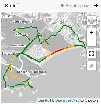 Karte in der Trainingsansicht mit Routenintensitäten