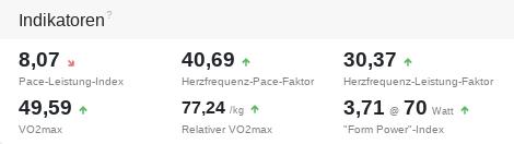 Effizienzwerte wie VO2max mit Trendindikatoren